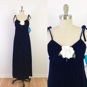 70s Blue Velvet Maxi Dress Luxe Boho Long Summer S